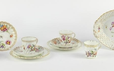 Dresden porcelain hand painted with flowers, comprising