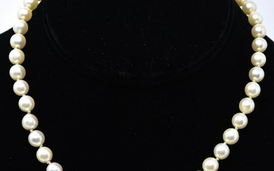 Estate 14kt White Gold & Cultured Pearl Necklace