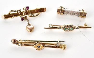 FOUR ASSORTED ANTIQUE BAR BROOCHES INCLUDING SAPPHIRE, RUBY AND SEED PEARL, OPAL ACID TESTED IN 9CT AND 14CT GOLD, TOTAL WEIGHT12.7GMS
