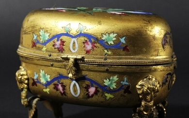 FRENCH GILT BRONZE CASKET, mid 19th century, of oval form en...
