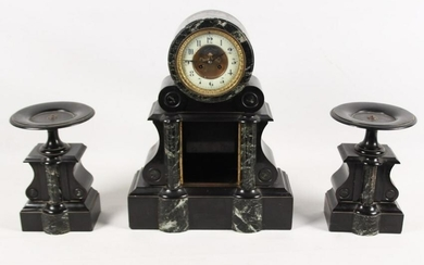 FRENCH MARBLE AND ONYX 3 PIECE CLOCK SET