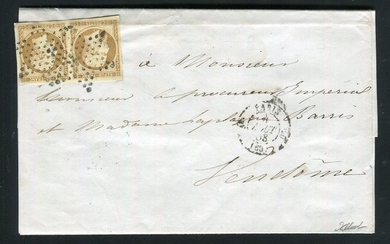 France 1853 - Rare letter from Paris bound for Vendôme with a pair of No. 9 stamps