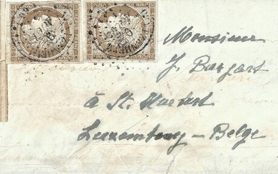 France 1853 - Very rare Ceres 10 centimes bistre, pairs including one postmarked on a letter bound for Belgian - Yvert 1a