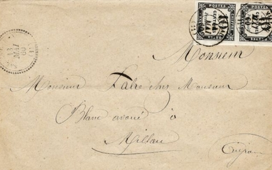France 1859 - Tax stamp, 10 centimes postage due, typographed, a superb pair on letter. - Yvert 2