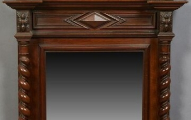 French Henri II Style Carved Walnut Overmantel Mirror