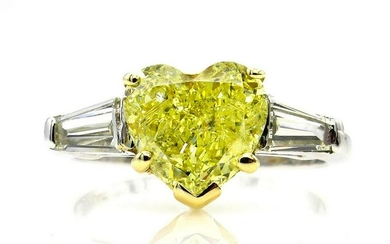 GIA 2.64ct Vintage Natural Fancy Yellow Heart Shape