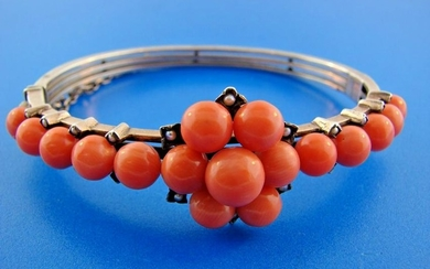GORGEOUS Victorian Silver Bracelet with Coral