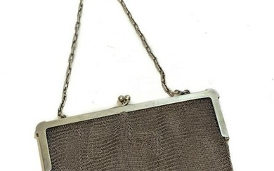 German Sterling Silver Chainmail Mesh Purse Handbag