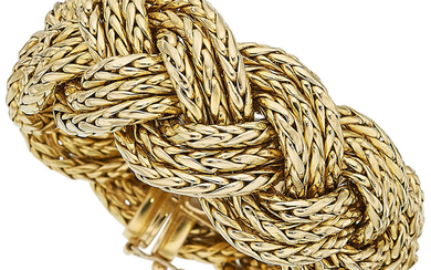 Gold Bracelet The 18k gold braided link bracelet weighs...