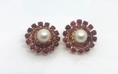 Gold Ruby and Pear Earrings Circa 1960