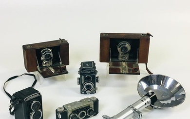 """Group of Five Cameras for Parts or Repair, two Ansco cameras, a """"No. 4"""" and """"No.5 model D,"""" a """"Yashica-44,"""" another twin lens, and a """"S"""