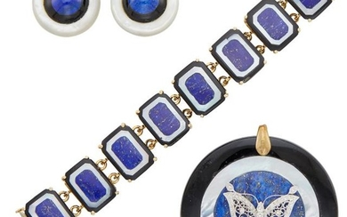 Group of Lapis, Mother-of-Pearl, Black Onyx and Diamond Jewelry