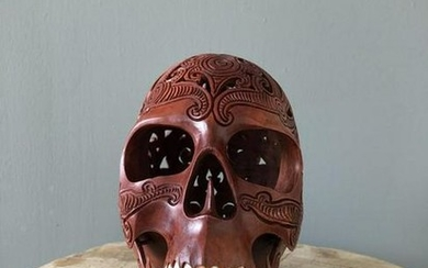Hand carved Human skull -Traditional Dayak carving