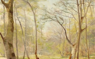 Harald Pryn: A creek in the woods by on a spring day. Signed Harald Pryn. Oil on canvas. 70×50,5.