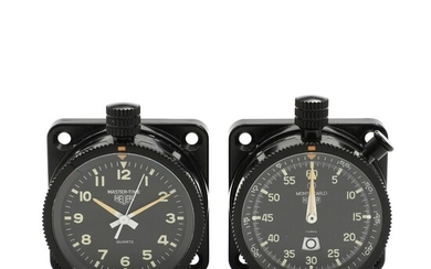 Heuer: Dashboard watches model Master-Time and Monte Carlo. Ref. 542.801 and 888.801. Circa. 1978. (2)...