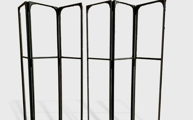 Industrial Iron And Glass Folding Screen