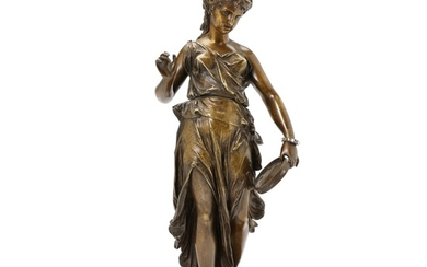 J. Goillot, 19th century: Young woman with tambourine. Signed J. Goillot. Patinated bronze. H. 36 cm.