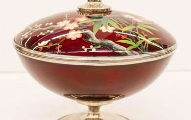 Japanese Cloisonne Covered Compote 6.5''x7.5''. Oxblood