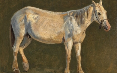 Johan Thomas Lundbye: Standing white horse. Signed. Oil on paper laid on panel. 29×37 cm.