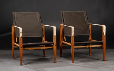 Kaare Klint. A pair of safari chairs, reupholstered (2)