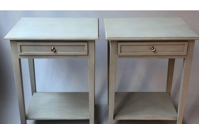 LAMP/SIDE TABLES, a pair, French grey painted, each with ful...