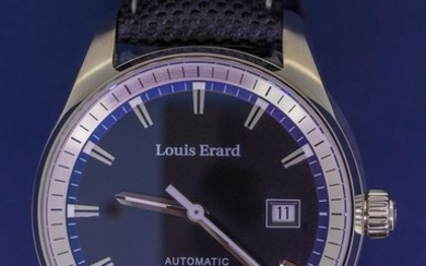 """Louis Erard - Automatic Watch Heritage Collection Black Dial Canvas Reversible Leather Strap Swiss Made- 69105AA22.BTD20 """"NO RESERVE PRICE"""" - Men - Brand New"""