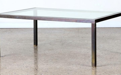 MODERNIST STYLE BRASS GLASS COFFEE TABLE C.1960