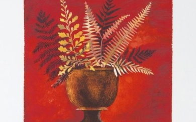 Mary Faulconer, Red Ferns, Lithograph
