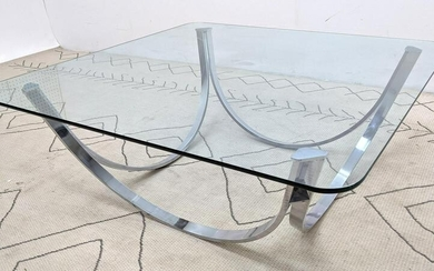 Mid Century Modern Chrome and Glass Coffee Table.