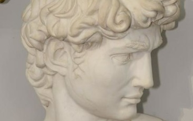 Monumental Italian Carrara Marble Bust of David, after
