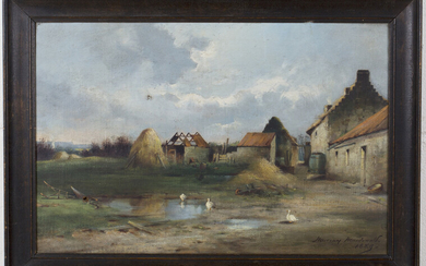 Murray Macdonald - View of a Farmstead, oil on canvas, signed and dated 1889 recto, inscribed verso