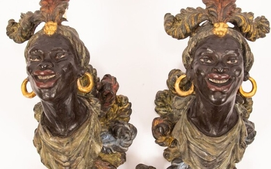 """NUBIAN CARVED & PAINTED WOOD MOUNTS, PAIR, H 15"""", W 7"""""""