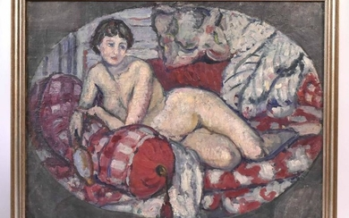 Oil on Canvas Reclining Nude Louis Sue