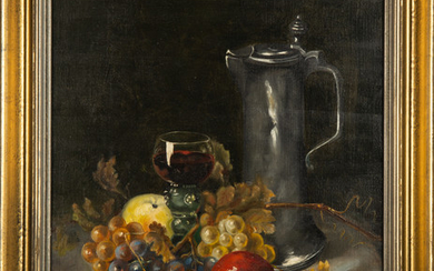 Otto Goldmann, a painting, still life with wine