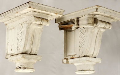 "PAIR MONUMENTAL WOOD CORBELS H 35"", W 24"" L 33"""