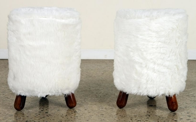 PAIR UPHOLSTERED FOOT STOOLS MANNER OF JEAN ROYERE