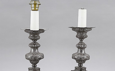 Pair of table lamps, 20th century, plated, Baroque...