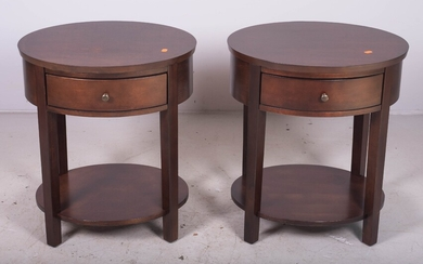 Pair Contemporary walnut one drawer side tables