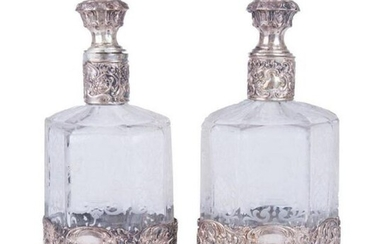 Pair Of Italian .800 Silver & Etched Glass Decanters