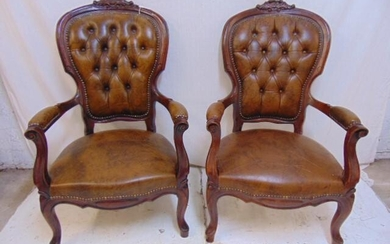 Pair Victorian style arm chairs with vinyl seat &
