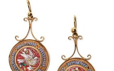 Pair of 18K yellow gold (750°/°°°) micro mosaic earrings with birds decoration (missing) Etruscan