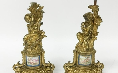Pair of Bronze Garniture or Candelabra Bases
