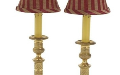 Pair of Charles X Gilt-Bronze Candlesticks Lamps