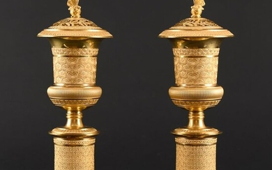 Pair of Empire Cassolettes à double usage - Empire - Bronze (gilt) - Early 19th century