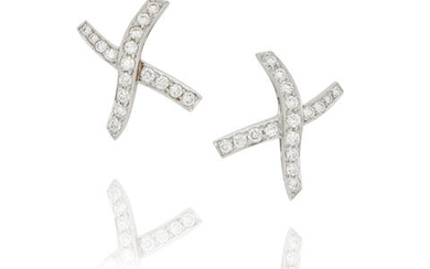 Paloma Picasso For Tiffany & Co.: Pair of White Gold And Diamond 'X' Earclips, circa 1985