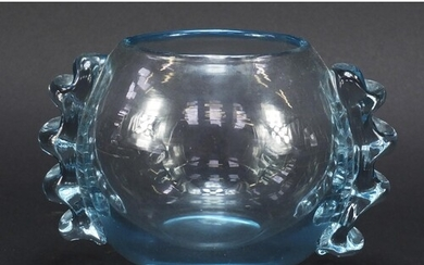 Powell spherical glass vase with applied ribbed lug handles,...