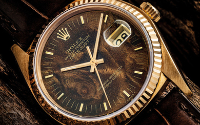 ROLEX. A FINE AND RARE 18K GOLD AUTOMATIC WRISTWATCH WITH SWEEP CENTRE SECONDS, DATE AND WOOD DIAL, SIGNED ROLEX, OYSTER PERPETUAL, DATEJUST MODEL, REF. 16018, CASE NO. 6'175'500, CIRCA 1979
