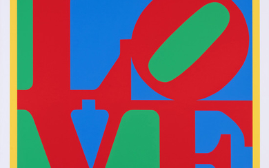 ƒ Robert Indiana (1928-2018) Heliotherapy Love - 1995 Serigraphy in colors on Lenox Museum Board, all margins, almost full page Sign...