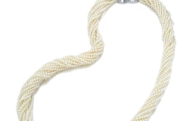 SEED PEARL AND DIAMOND NECKLACE, CHAUMET, EARLY 20TH CENTURY AND LATER