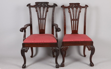 SET TEN CHIPPENDALE STYLE CARVED MAHOGANY DINING CHAIRS. 19th century....